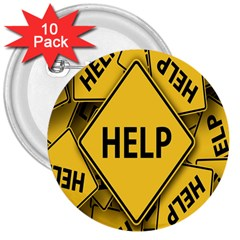 Caution Road Sign Help Cross Yellow 3  Buttons (10 Pack)