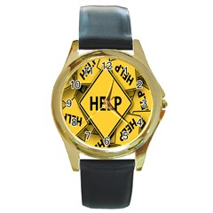 Caution Road Sign Help Cross Yellow Round Gold Metal Watch