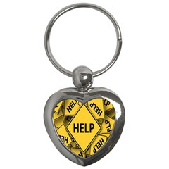 Caution Road Sign Help Cross Yellow Key Chains (Heart)
