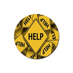 Caution Road Sign Help Cross Yellow Rubber Round Coaster (4 pack)