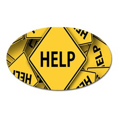 Caution Road Sign Help Cross Yellow Oval Magnet
