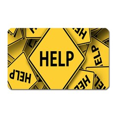 Caution Road Sign Help Cross Yellow Magnet (Rectangular)