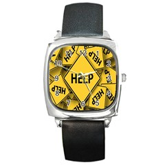 Caution Road Sign Help Cross Yellow Square Metal Watch
