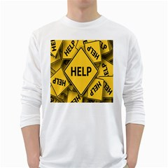 Caution Road Sign Help Cross Yellow White Long Sleeve T-Shirts