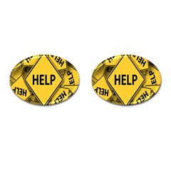 Caution Road Sign Help Cross Yellow Cufflinks (oval)
