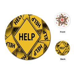 Caution Road Sign Help Cross Yellow Playing Cards (round)