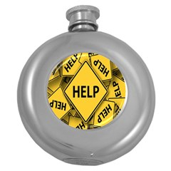 Caution Road Sign Help Cross Yellow Round Hip Flask (5 Oz)