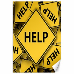 Caution Road Sign Help Cross Yellow Canvas 24  x 36