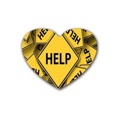 Caution Road Sign Help Cross Yellow Heart Coaster (4 Pack)