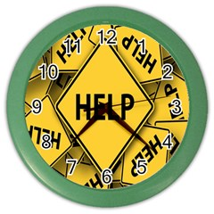 Caution Road Sign Help Cross Yellow Color Wall Clocks