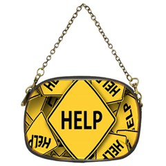 Caution Road Sign Help Cross Yellow Chain Purses (two Sides)