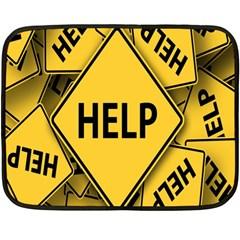 Caution Road Sign Help Cross Yellow Fleece Blanket (Mini)