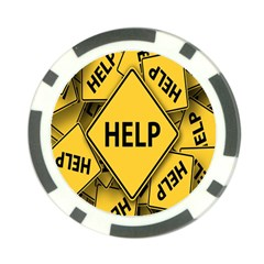 Caution Road Sign Help Cross Yellow Poker Chip Card Guard (10 pack)