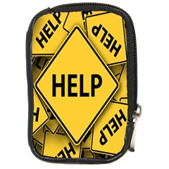 Caution Road Sign Help Cross Yellow Compact Camera Cases