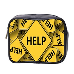 Caution Road Sign Help Cross Yellow Mini Toiletries Bag 2-Side
