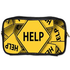 Caution Road Sign Help Cross Yellow Toiletries Bags 2-Side
