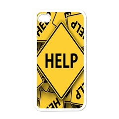 Caution Road Sign Help Cross Yellow Apple iPhone 4 Case (White)