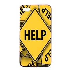Caution Road Sign Help Cross Yellow Apple iPhone 4/4s Seamless Case (Black)