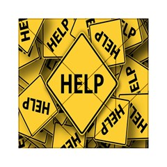 Caution Road Sign Help Cross Yellow Acrylic Tangram Puzzle (6  x 6 )