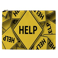 Caution Road Sign Help Cross Yellow Cosmetic Bag (XXL)