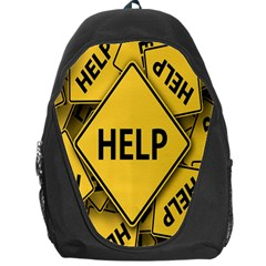 Caution Road Sign Help Cross Yellow Backpack Bag
