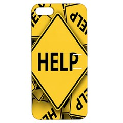 Caution Road Sign Help Cross Yellow Apple iPhone 5 Hardshell Case with Stand