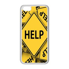 Caution Road Sign Help Cross Yellow Apple iPhone 5C Seamless Case (White)