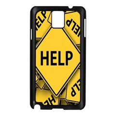Caution Road Sign Help Cross Yellow Samsung Galaxy Note 3 N9005 Case (Black)