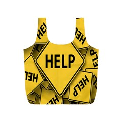 Caution Road Sign Help Cross Yellow Full Print Recycle Bags (S)