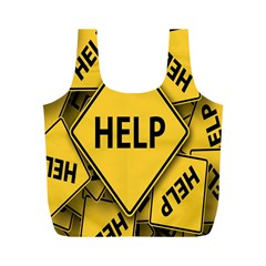 Caution Road Sign Help Cross Yellow Full Print Recycle Bags (M)