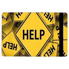Caution Road Sign Help Cross Yellow iPad Air 2 Flip