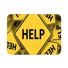 Caution Road Sign Help Cross Yellow Double Sided Flano Blanket (Mini)