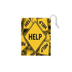 Caution Road Sign Help Cross Yellow Drawstring Pouches (XS)