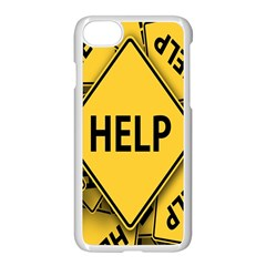 Caution Road Sign Help Cross Yellow Apple Iphone 7 Seamless Case (white)