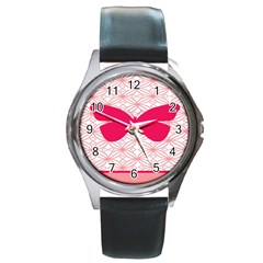 Butterfly Animals Pink Plaid Triangle Circle Flower Round Metal Watch