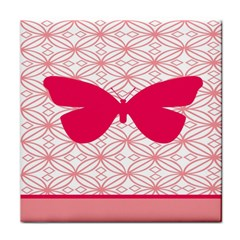 Butterfly Animals Pink Plaid Triangle Circle Flower Tile Coasters