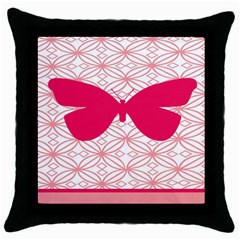 Butterfly Animals Pink Plaid Triangle Circle Flower Throw Pillow Case (black)