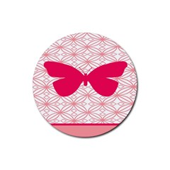 Butterfly Animals Pink Plaid Triangle Circle Flower Rubber Round Coaster (4 Pack)