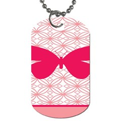 Butterfly Animals Pink Plaid Triangle Circle Flower Dog Tag (one Side)