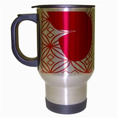 Butterfly Animals Pink Plaid Triangle Circle Flower Travel Mug (Silver Gray)