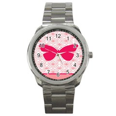 Butterfly Animals Pink Plaid Triangle Circle Flower Sport Metal Watch