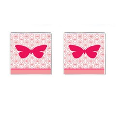 Butterfly Animals Pink Plaid Triangle Circle Flower Cufflinks (square)
