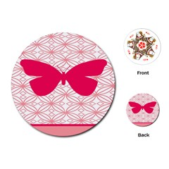 Butterfly Animals Pink Plaid Triangle Circle Flower Playing Cards (Round)