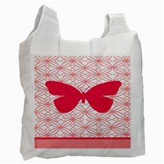 Butterfly Animals Pink Plaid Triangle Circle Flower Recycle Bag (two Side)