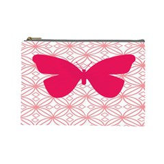 Butterfly Animals Pink Plaid Triangle Circle Flower Cosmetic Bag (Large)