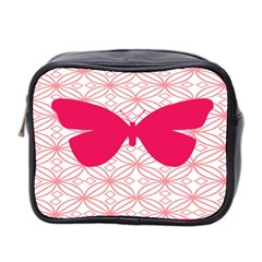 Butterfly Animals Pink Plaid Triangle Circle Flower Mini Toiletries Bag 2-Side