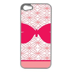 Butterfly Animals Pink Plaid Triangle Circle Flower Apple iPhone 5 Case (Silver)