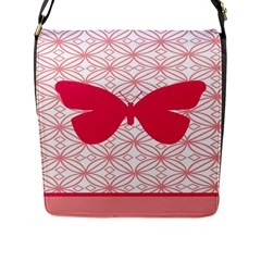 Butterfly Animals Pink Plaid Triangle Circle Flower Flap Messenger Bag (L)