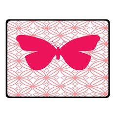 Butterfly Animals Pink Plaid Triangle Circle Flower Double Sided Fleece Blanket (Small)