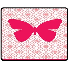 Butterfly Animals Pink Plaid Triangle Circle Flower Double Sided Fleece Blanket (Medium)